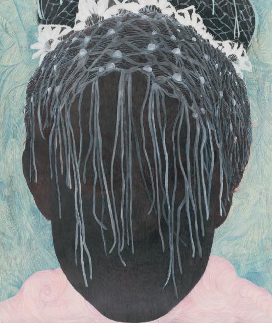 Elly Strik, Bride, 2002-2010, grafito, laca, óleo y lápiz sobre papel, 290 x 205 cm. Foto: Peter Cox, cortesía de la artista.