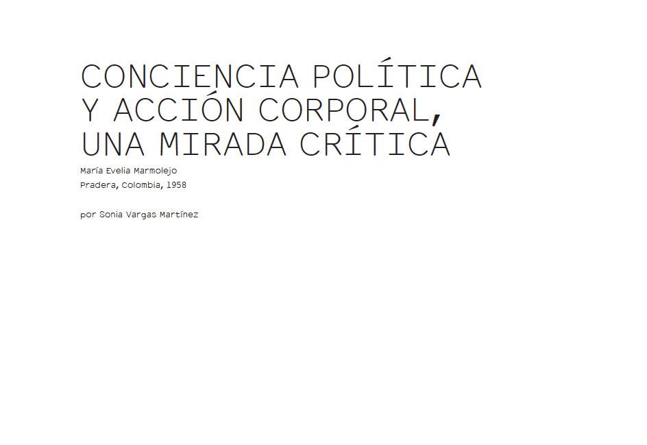CONCIENCIA POLÍTICA Y ACCIÓN CORPORAL, UNA MIRADA CRÍTICA