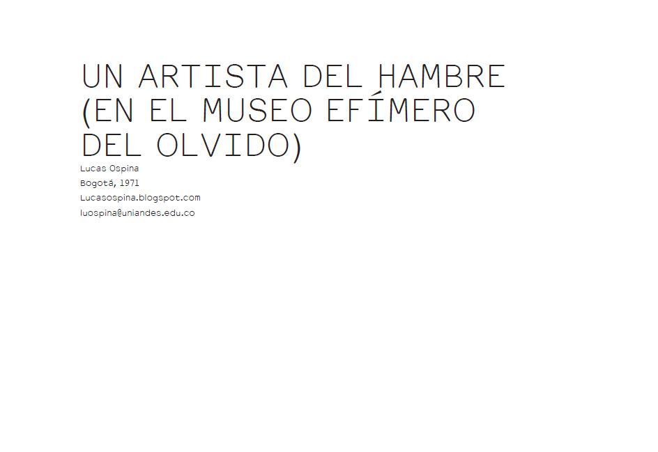 UN ARTISTA DEL HAMBRE - ERRATA#