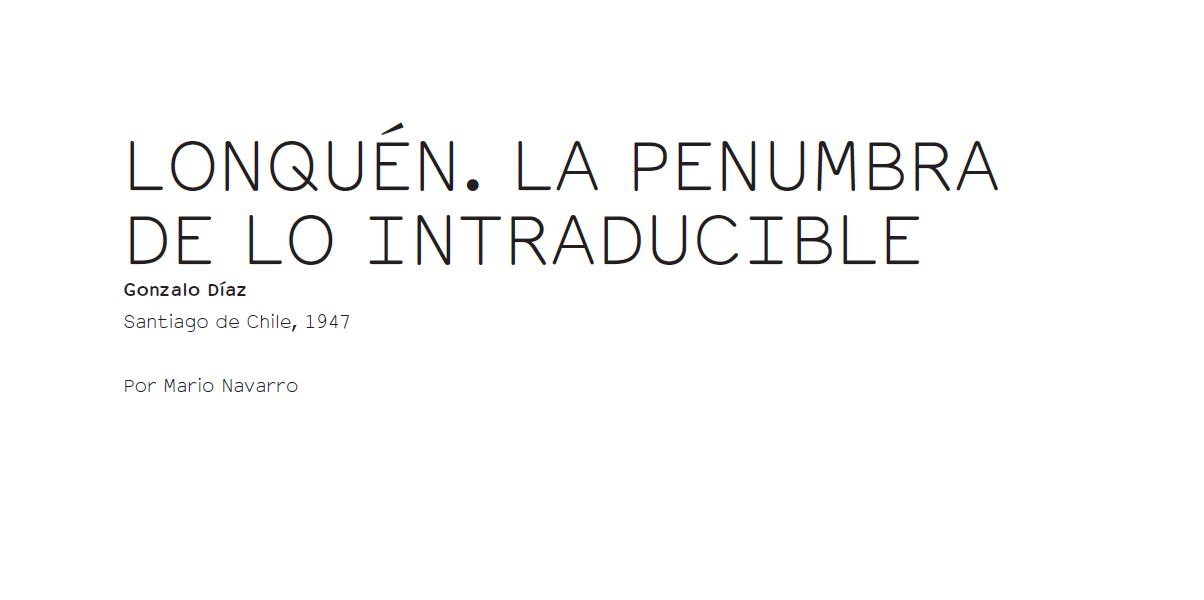 Gonzalo Díaz - Lonquén. la penumbra de lo intraducible -  Errata#13