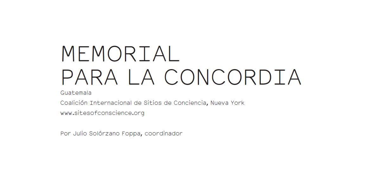 Memorial para la Concordia - Julio Solórzano Foppa
