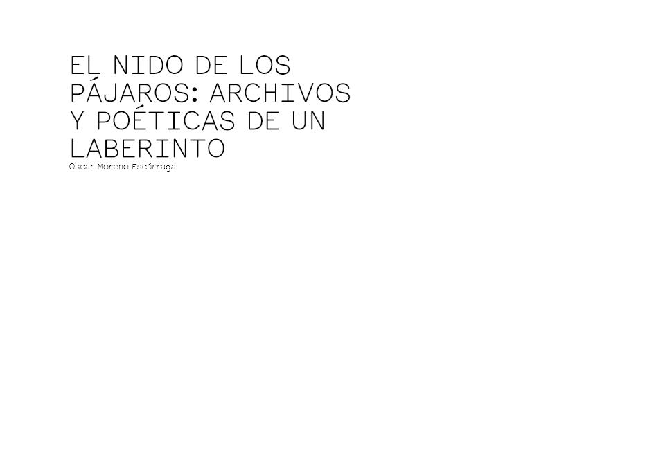 EL NIDO DE LOS PÁJAROS: ARCHIVOS Y POÉTICAS DE UN LABERINTO