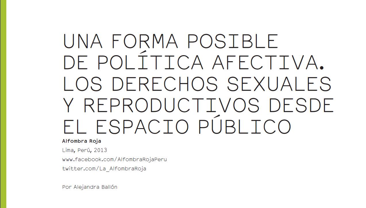 Una forma posible de política afectiva. Los derechos sexuales y reproductivos desde el espacio público